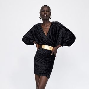 NWT Zara Black Velvet V Neck Dress with Gold Belt